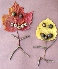 Leaf People Fall Art using cute acorns for a kids craft activity!