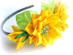 Sunny yellow headband with satin ribbon flower. от KatyaFantasy, $16.00