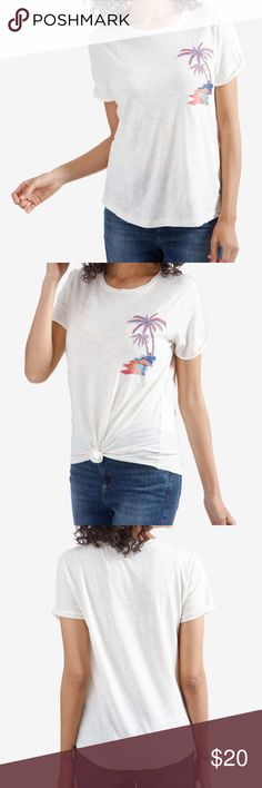 978463975dd85f Lucky Brand Embroidered Beach Short-Sleeve Tee Think tropical thoughts with  this cute comfy tee