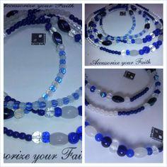 Amazing Blue and Crystal Necklace inspired on Orisha Yemaya, Santeria, Yoruba Religion, Regla de Ocha by OshaDesigns, $25.00