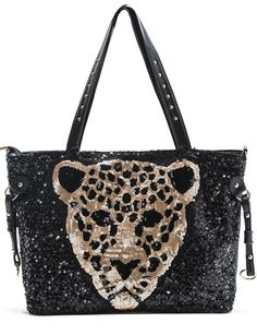 Black Tiger Sequins Shoulder Bag 10.17