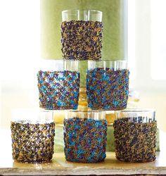 Gestrickte Gläserhüllen Shops, Tricks, Candle Holders, Candles, Dots, Weaving, Knitting And Crocheting, Model, Handarbeit
