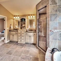 Double Vanity Bathroom Floor Plans plenty of storage in this master bathroom. #bathrooms