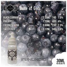 Illusions (Taste Of Gods) - очень оригинальная смесь, которую было бы сложно себе представить без этой жидкости. Ананас, кокос и чёрная смородина, что может быть оригинальнее?