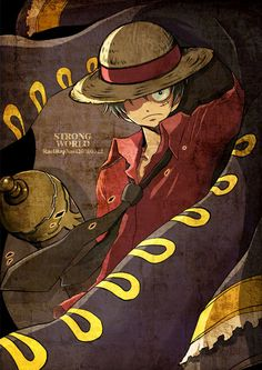 Tags: Anime, ONE PIECE, Monkey D. Luffy, Straw Hat, Strong World, Text: Mangaka Name, Hat Over Eye