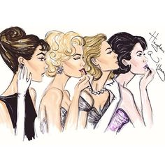What I call the Hollywood Four. From left: Audrey Hepburn, Marilyn Monroe, Grace…