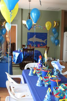 Shark Party - tables for the kids :)