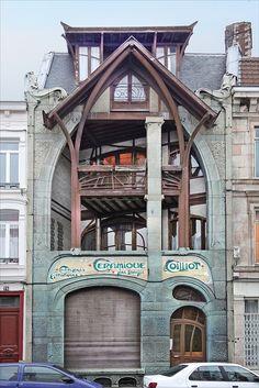 Art Nouveau - Maison d'Hector Guimard by Hector Guimard Lille, France Architecture Design, Architecture Art Nouveau, Beautiful Architecture, Beautiful Buildings, Beautiful Places, Building Architecture, Ancient Architecture, Arte Art Deco, Art Nouveau Arquitectura