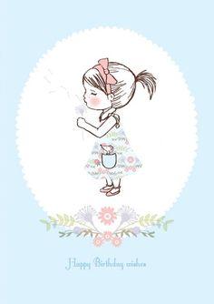 Make A Wish Greeting Card - Dandelion Greeting Card - Pretty Birthday Card - Cute Best Wishes Card Birthday Wishes Greeting Cards, Vintage Birthday Cards, Happy Birthday Greetings, Happy Birthday Illustration, Cute Girl Illustration, Happy Birthday Quotes, Happy Birthday Images, Best Wishes Card, Easy Drawings