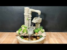 So beautiful amazing indoor garden waterfall fountain water fountain making at home - YouTube Indoor Waterfall Fountain, Diy Water Fountain, Garden Waterfall, Indoor Garden, The Creator, Interior Design, Loft Conversions, Amazing, Youtube