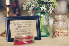 I'm head over heels with this detail. I'm pretty sure I have to use it at my own wedding. So sweet and fun, plus easy and inexpensive! Win win!I found these framed lyrics via Lauren & Matt's wedding on Hi-Fi Weddings (where I find bucket loads of inspiration.)Photos by Matt Miller…