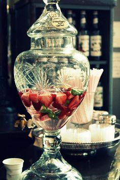 Beautiful cut glass drink dispenser, great for parties,  now available at Lily…