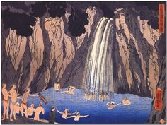 Pilgrims in the waterfall Japan by Kuniyoshi Canvas Print Poster 18X12""