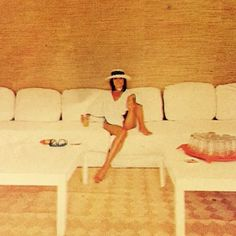 """""""Elsa Martinelli, Italian actress, shows a lot of leg in the pool house of her Saint-Tropez vacation house. Designed by husband Willy Rizzo, the house is a…"""""""