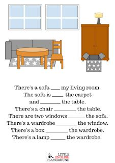 Little English Playground: house: rooms and furniture flashcards +grammar exercises (there is/there are, prepositions of place)