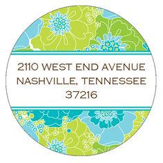 Modern Floral - Blue and Green Round Address Labels