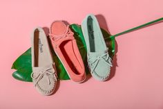The Newport Moc in spring-ready Stone, Melon and Mint.  Hello Spring | Minnetonka Moccasin