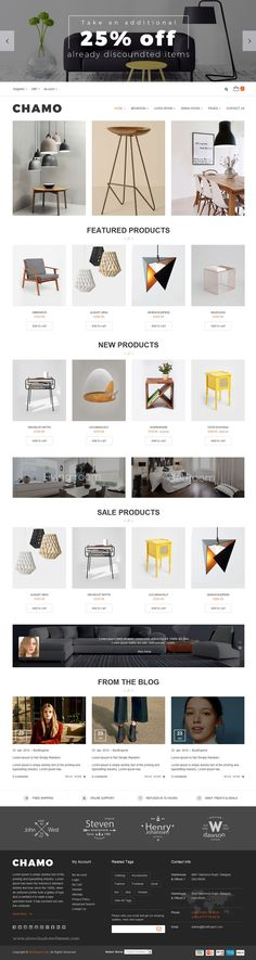 Chamo is a clean and elegant design eCommerce Bootstrap Template suitable for multipurpose online #website. It has 6 defined layouts for home page to give you best selections in customization. #furniturestore