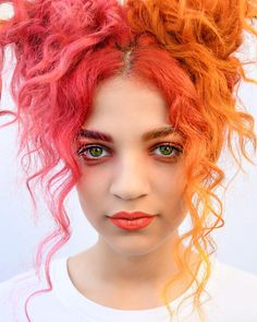 69 Super Ideas For Hair Color Orange Character Inspiration Hair Color Auburn, Auburn Hair, Red Hair Color, Cool Hair Color, Green Hair, Orange Color, Orange And Pink Hair, Color Red, Pink Hair Colors