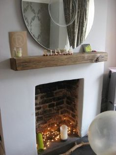 Great Pictures open Fireplace Hearth Tips A mantlepiece made from an old railway sleeper Log Burner Living Room, Living Room Decor Fireplace, Fireplace Design, Home Living Room, Living Room Designs, Fireplace Decorations, Empty Fireplace Ideas, Unused Fireplace, Simple Fireplace