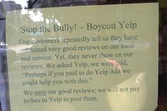 Dentaltown - Yelp Has No Obligation to Display Positive Reviews, Federal Judge Rules. Do small business owners have a right to have positive reviews appear on their Yelp page? No, according to a federal appeals court, which on Thursday threw out a case brought by small business owners claiming that Yelp extorted advertising payments from them by manipulating reviews on its site.   http://blogs.wsj.com/digits/2014/09/04/yelp-has-no-obligation-to-display-positive-reviews-federal-judge-says/