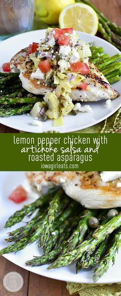 Lemon Pepper Chicken with Artichoke Salsa and Roasted Asparagus is a fresh and healthy 30 minute meal for spring! #glutenfree | iowagirleats.com