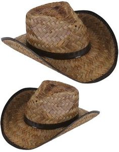 Nice New Men's Women's Stained Brown Woven Straw Cowboy Hat