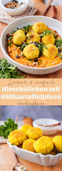 Crispy and delicious millet falafels with a spicy and creamy sweet potato puree. This is a simple and tasty lunch. vegan or vegetarian. Gold Potato Recipes, Clean Eating Fish, Fall Recipes, Vegan Recipes, Delicious Recipes, Millet Recipes, Mashed Sweet Potatoes, Rigatoni, Lunches And Dinners