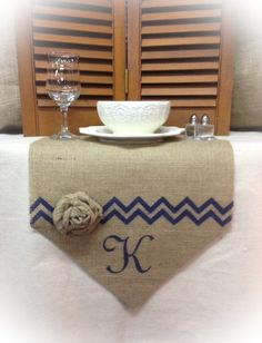 Burlap Table Runner  12 & 14 wide Monogram by CreativePlaces, $16.00