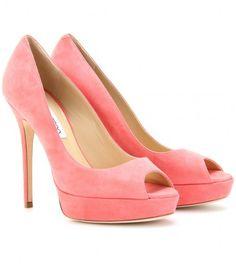 Jimmy Choo Pink Crown Platform Peep Toe Pumps
