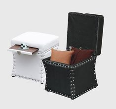 New Faux Leather Ottoman Storage Box Lounge Seat Foot Stool w/Cup Holder Tray - Ottomans - Ideas of Ottomans Recliner With Ottoman, Ottoman Footstool, Ottomans, Leather Stool, Square Ottoman, Round Ottoman, Bedroom Seating, Lounge Seating