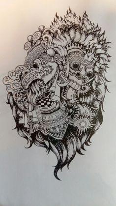 Balinesse tattoo sketch#barong#rangda#blackandgrey