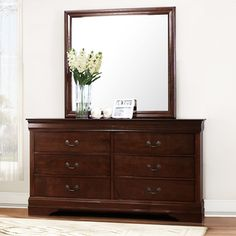 Shop for TRIBECCA HOME Milford Louis Phillip Brown Traditional 6-drawer Dresser and Mirror. Get free shipping at Overstock.com - Your Online Furniture Outlet Store! Get 5% in rewards with Club O!
