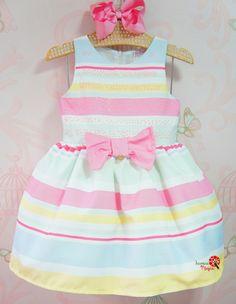 Vestido Infantil Listras com Brilho Mon Sucré