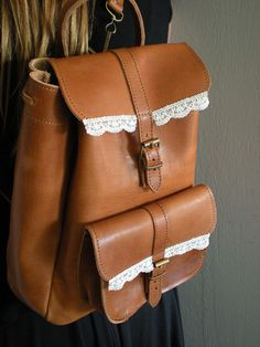 Handmade & Durable Leather Backpack-Shoulder Bag in tobacco brown with Lace. €61,00, via Etsy. By E-creation from Athens