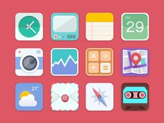 Flat Icons / Flat Design / Icons Design / Icons / Pictograms / Flat - icon by Gris