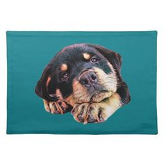 Rottweiler Puppy Love Rott Dog Canine German Breed Placemat - dog puppy dogs doggy pup hound love pet best friend