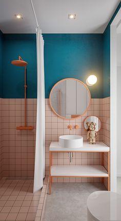 Designs To Inspire Slick Small Home Creativity Bathroom Design Small, Bathroom Interior Design, Small Bathrooms, Lavabo Vintage, Small Studio Apartment Design, Memphis Design, Bathroom Inspiration, Bathroom Ideas, Budget Bathroom
