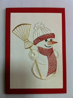 Paper Embroidery Patterns Photo: More Embroidery Cards, Learn Embroidery, Hand Embroidery Patterns, Stitching On Paper, Sewing Cards, String Art Patterns, Thread Art, Christmas Embroidery, Card Patterns