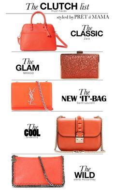 The orange 'Clutch list' styled by Prêt à Mama
