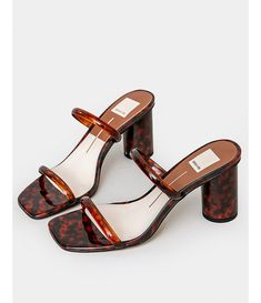 Barely there sandals featuring a round architectural heel and square-shaped toe in a vinyl tortoiseshell print. Made by Dolce Vita. Dr Shoes, Me Too Shoes, Shoes Heels, Pumps, Pretty Shoes, Cute Shoes, Aesthetic Shoes, Beige Aesthetic, Shoe Game