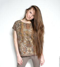 Купить Блузка из шелка и шерсти валяная - бежевый, абстрактный, валяный топ, нунофелтинг, Валяние, шелк