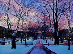 Scenic landscape painting of Boston in winter - by Sue Birkenshaw   #scenic #boston #landscape
