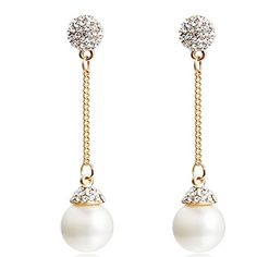 CNCbetter Women Fashion Jewelry Simulated-Pearl Charms Ball Dangle Long  Stud Earring for Party Banquet 14801cf2bbb9