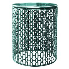 Dark Teal Round Stamp Table- 15 in.
