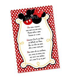 Please Bring a Book Instead Of A Card Mickey and Minnie Mouse Invitation Insert - Mickey Minnie Baby Shower Invitation Insert on Etsy, $5.00