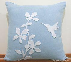 hummingbird felt pillow
