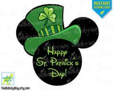 St Patricks Day Mickey Ears Printable Iron On by TheWallabyWay