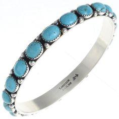 Turquoise Bangle Bracelet Navajo Handmade Silver