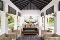 Contemporary White Poolside Cabana Impressive industrial steel beams support the pool cabana's ceiling, which shelters an outdoor kitchen, a teak dining table with a top made of lavastone is by Alfredo Custom Furniture. Modern Farmhouse Exterior, Modern Farmhouse Style, Farmhouse Decor, Ceiling Decor, Ceiling Design, Ceiling Detail, Ceiling Ideas, Plafond Design, Pool Cabana